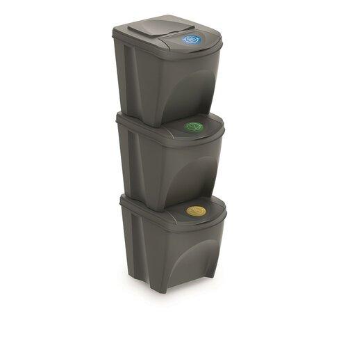 Sortibox Szelektív hulladékgyűjtő kosarak szürke, 25 l, 3 db