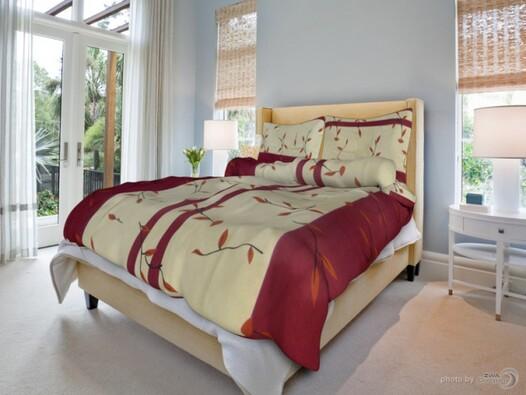 Bavlněné povlečení Listí 2, 140 x 200 cm, 70 x 90 , červená, 140 x 200 cm, 70 x 90 cm