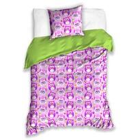 Dětské bavlněné povlečení Sovičky fialová, 140 x 200 cm, 70 x 90 cm