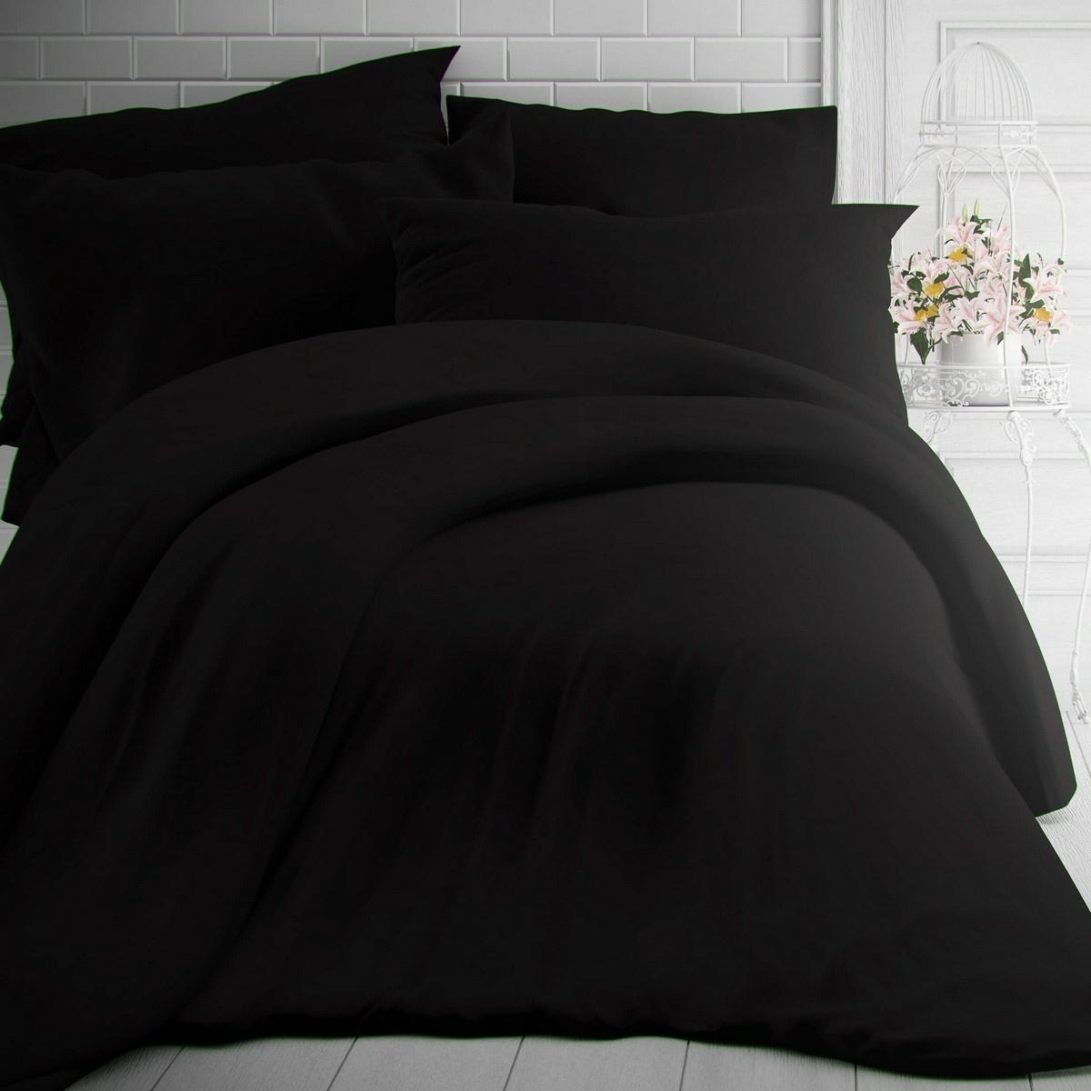 Kvalitex Bavlnené obliečky čierna, 220 x 200 cm, 2 ks 70 x 90 cm