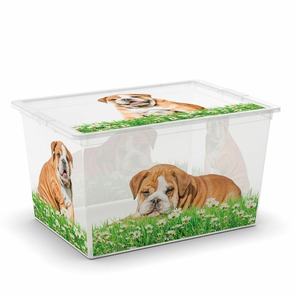 KIS Plastový úložný box C-Box Puppy & Kitten XL s kolečky, 50 L