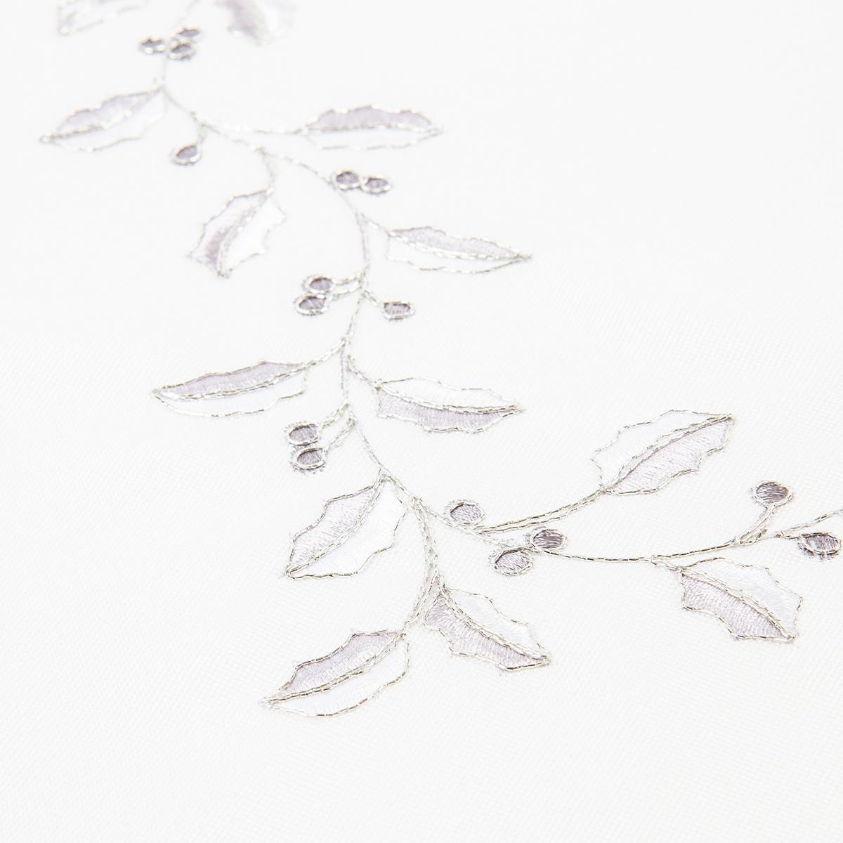 Vánoční ubrus Cesmína bílá, 40 x 90 cm