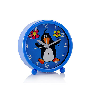 Budík tučňák modrá