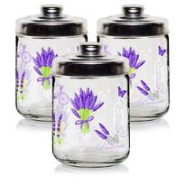 Cerve Set 3 recipiente de sticlă Lavandă, 800 ml