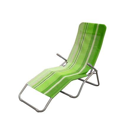 Happy Green Plážové skladacie ležadlo pruh zelená