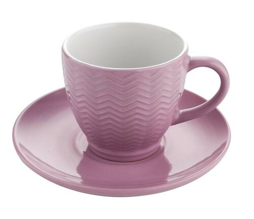 Florina Keramický šálek s podšálkem Basima 250 ml, růžová