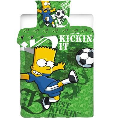 Dětské bavlněné povlečení Bart Simpson Football, 140 x 200 cm, 70 x 90 cm