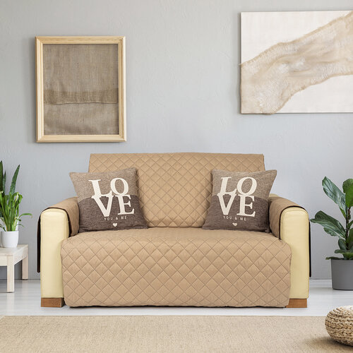 4Home Prehoz na sedaciu súpravu Doubleface hnedá/béžová, 180 x 220 cm