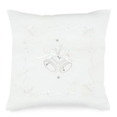 Csengettyűk kispárnahuzat fehér, 40 x 40 cm