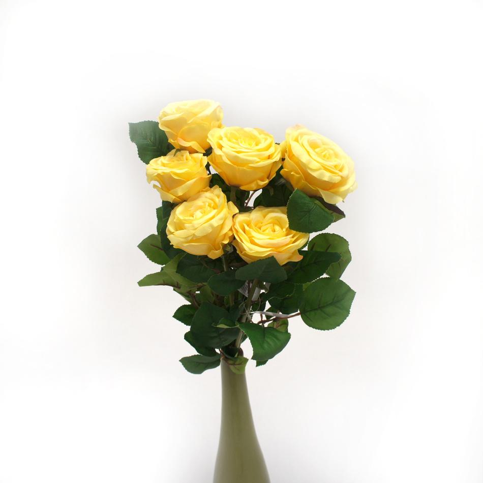 Umělá kvetina ruže, žltá, 6 ks, Livo