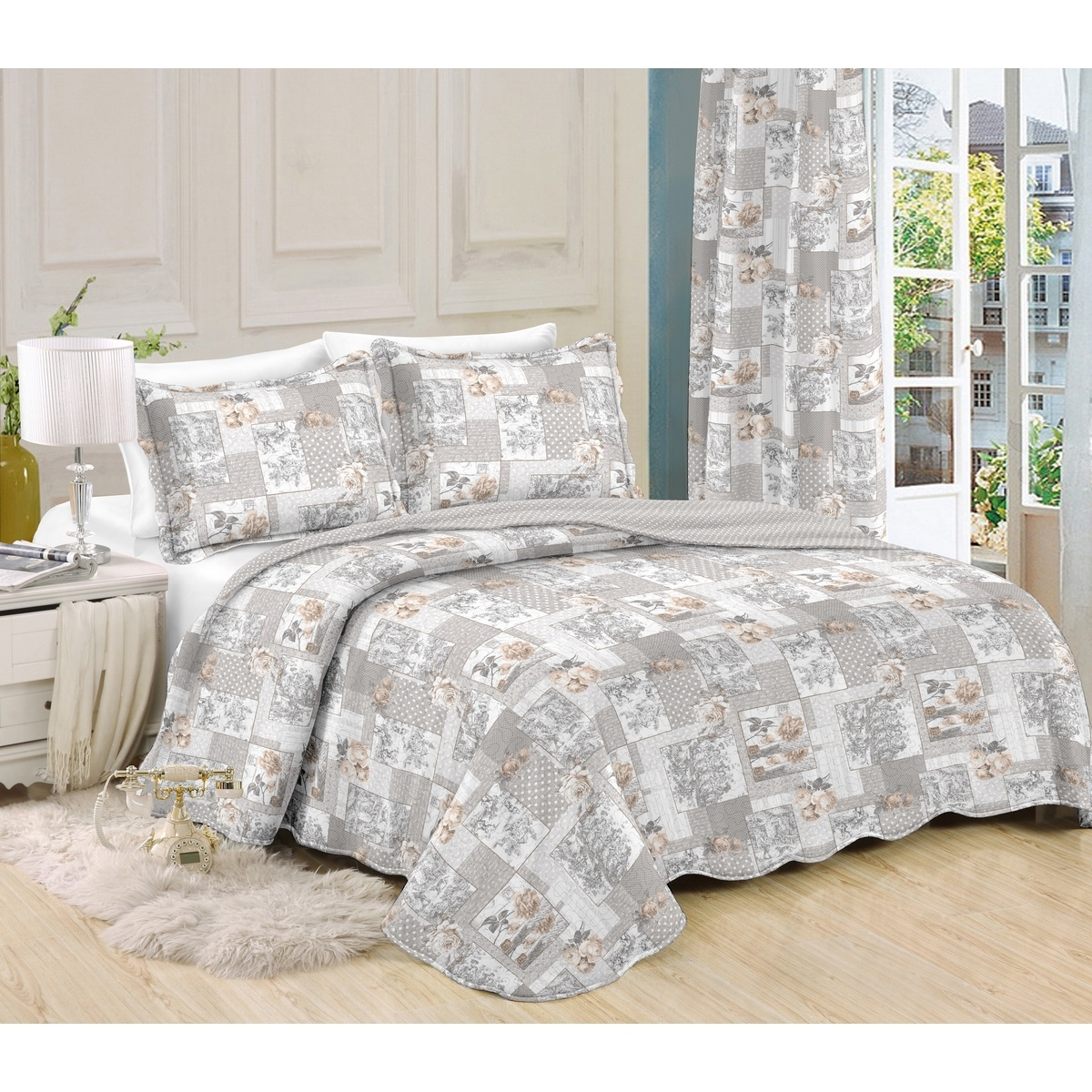 Přehoz na postel Patchwork Ina, 230 x 250 cm, 2 ks 50 x 70 cm, 230 x 250 cm