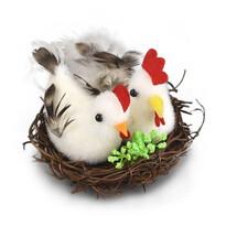 Húsvéti dekoráció - tyúkocskák fészekben, 9 x 5 cm