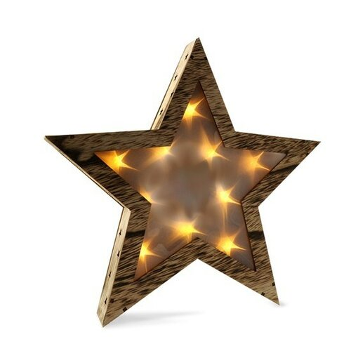 Solight Vánoční dřevěná hvězda 10 LED, teplá bílá