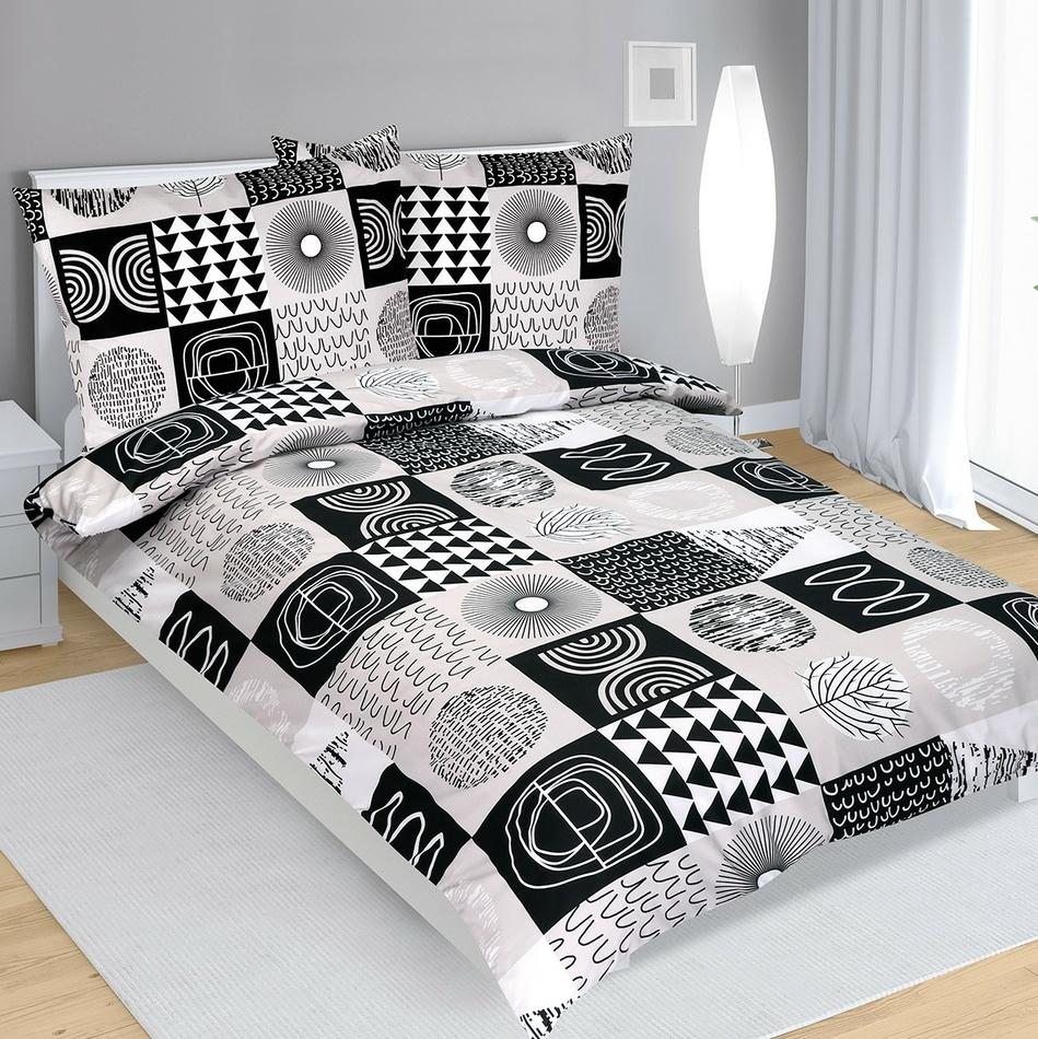 Bellatex Bavlnené obliečky sivo-čierna, 140 x 220 cm, 70 x 90 cm