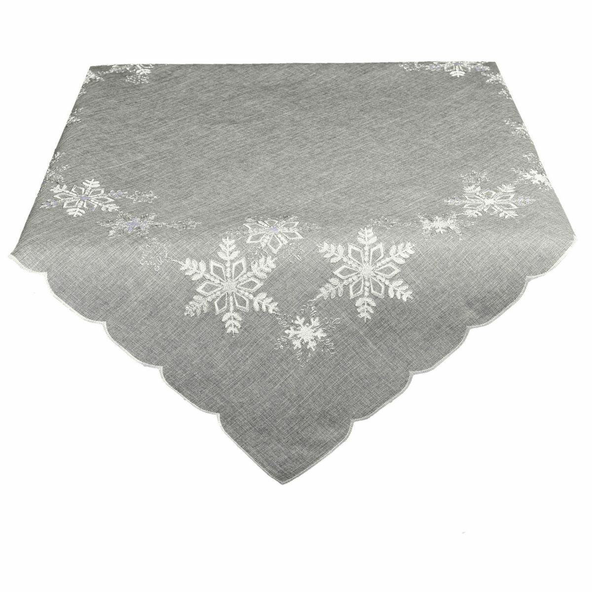 BO-MA Trading Vánoční ubrus Vločky šedá, 120 x 140 cm