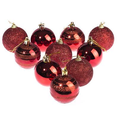 Vánoční koule 10 ks, červená