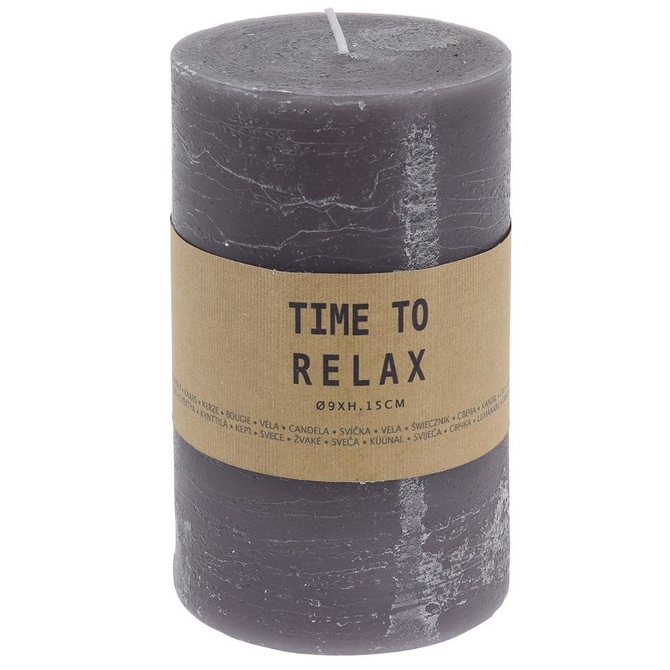 Dekorativní svíčka Time to relax šedá, 15 cm