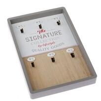 Drewniany wieszak na klucze Signature, 20 x 30 x 3 cm
