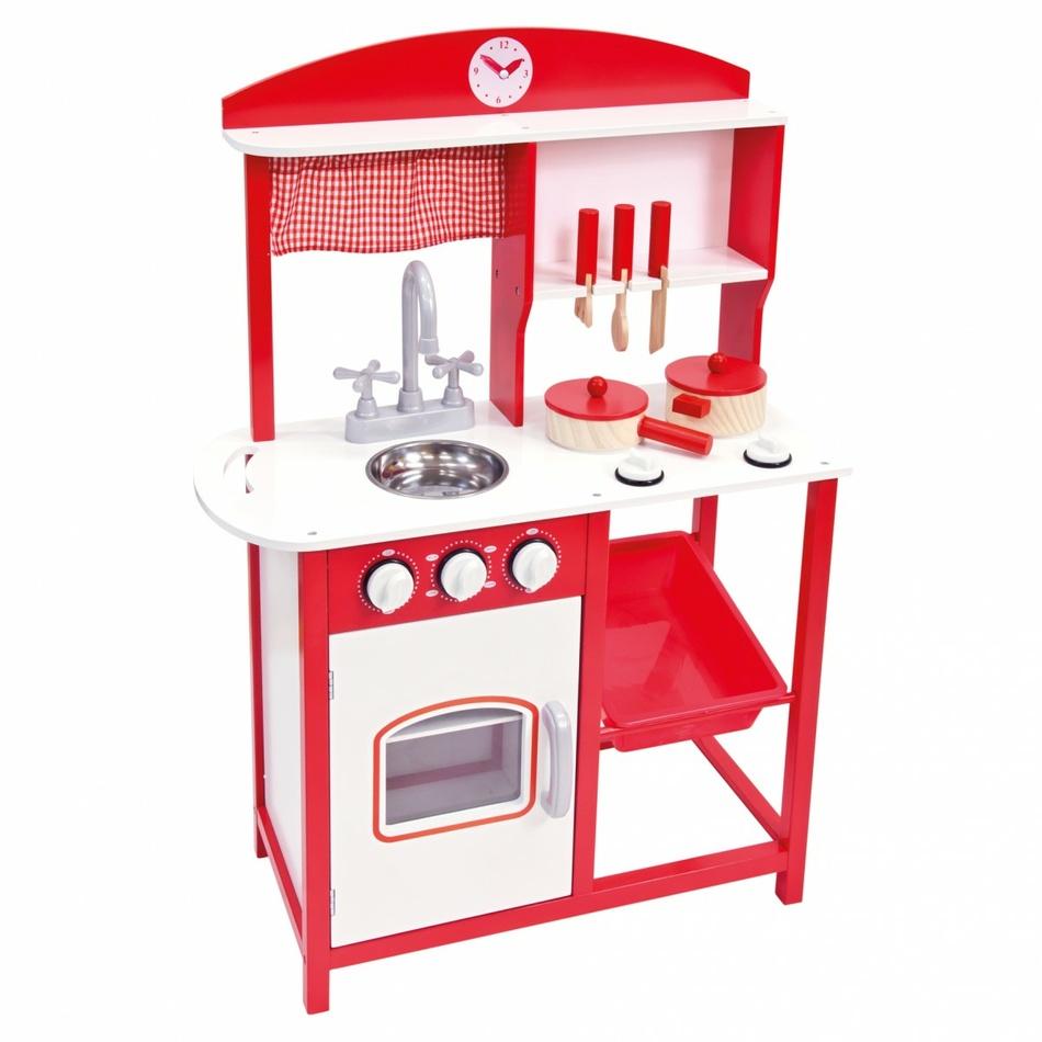 Bino Detská kuchynka s príslušenstvom, červená