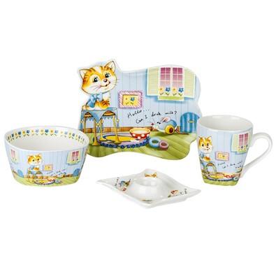 4dílná sada nádobí pro děti Kočka a myš