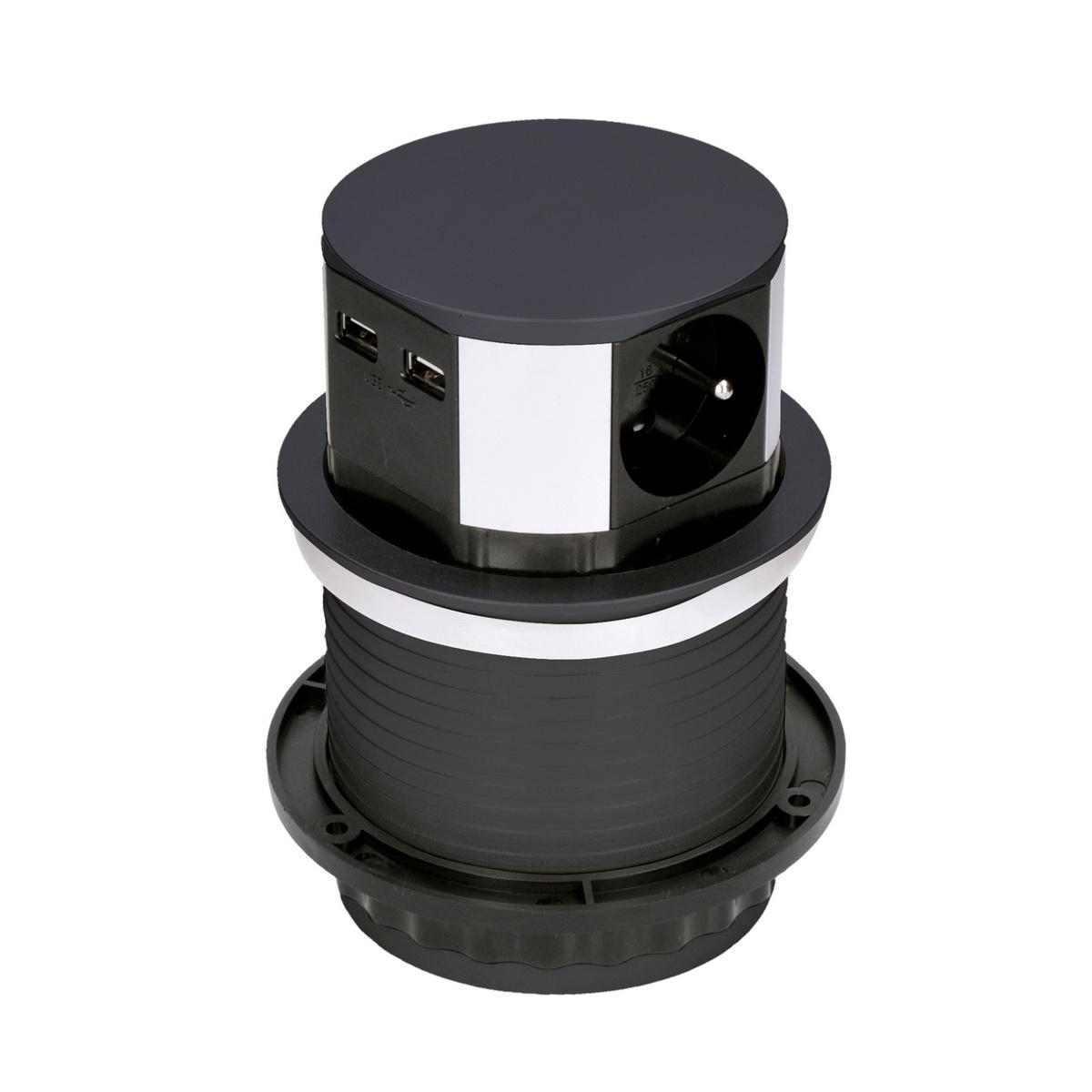 Solight Výsuvný predlžovací blok s 3 zásuvkami a 2x USB, čierna