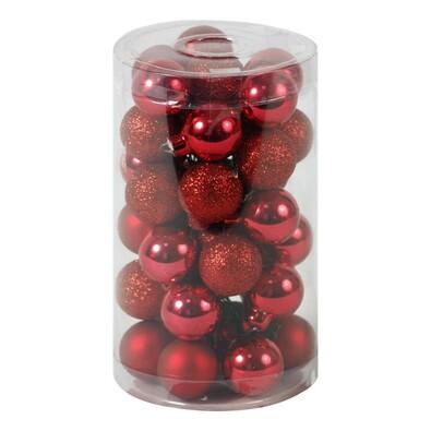 Sada vánočních ozdob na drátku, červená, 36 ks, červená