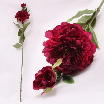 Umělá květina pivoňka tmavě růžová