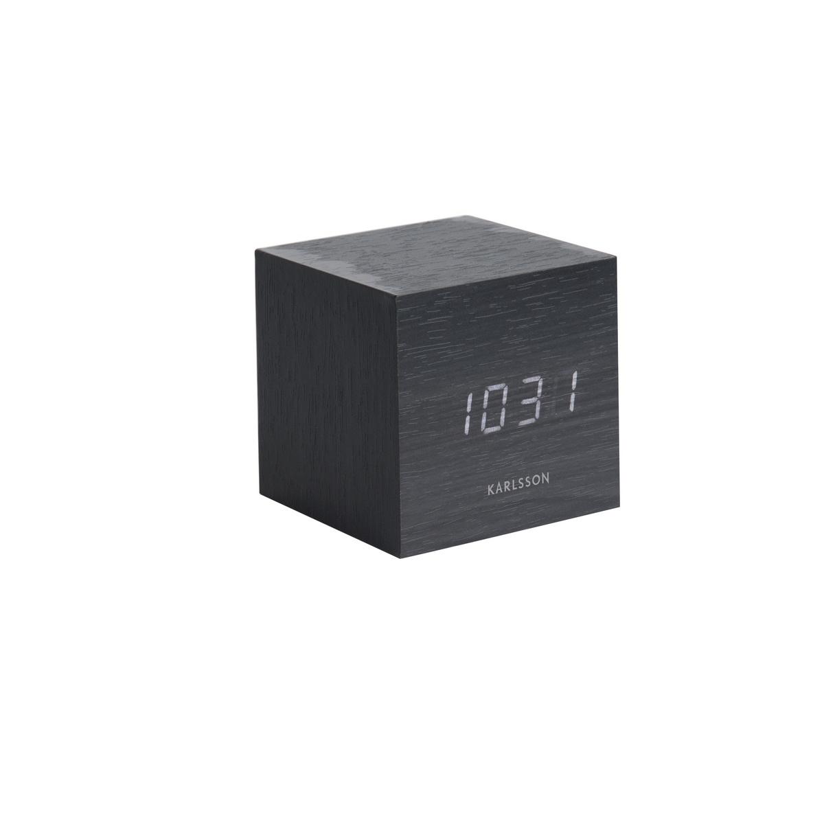 Karlsson 5655BK Designové LED stolní hodiny s budíkem, 8 x 8 cm