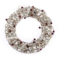 Bożonarodzeniowy wieniec świecący srebrny, śr. 25 cm