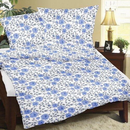 Bellatex Flanelové obliečky Ruže modrá, 140 x 220 cm, 70 x 90 cm