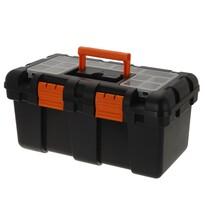 Hordozható szerszámdoboz, fekete, 50 x 25 x 23,5 cm