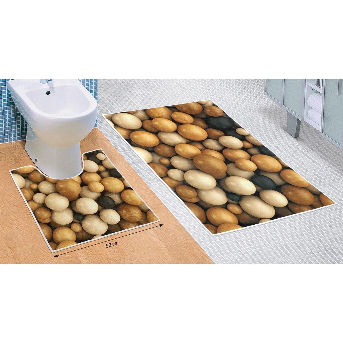 Bellatex Sada koupelnových předložek Dřevěné koule 3D, 60 x 100 cm, 50 x 60 cm