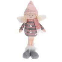 Dekoracja świąteczna Anioł w czapce różowy, 34 cm
