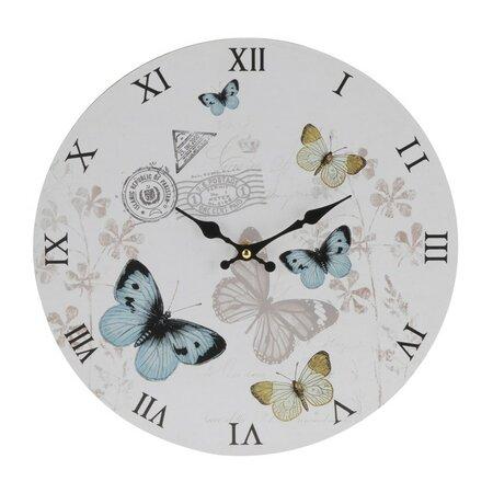 Zegar ścienny Butterfly, niebieski, śr. 33 cm
