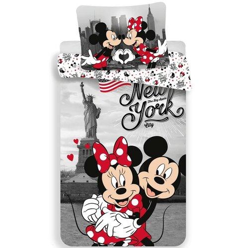Jerry Fabrics Dětské bavlněné povlečení Mickey and Minnie in New York, 140 x 200 cm, 70 x 90 cm