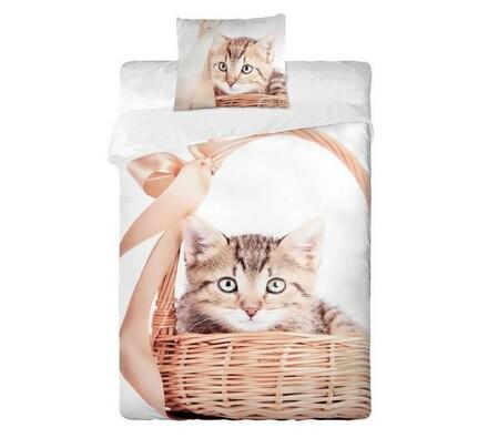 Bavlněné povlečení Kočka v košíku, 140 x 200 cm, 70 x 90 cm