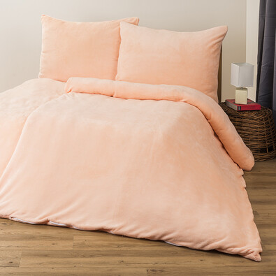 Lenjerie pat 1 pers. 4Home  microflanel roz somon, 160 x 200 cm, 2 buc. 70 x 80 cm