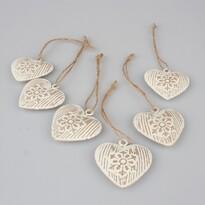 Sada vianočných kovových ozdôb Srdce, 6 ks