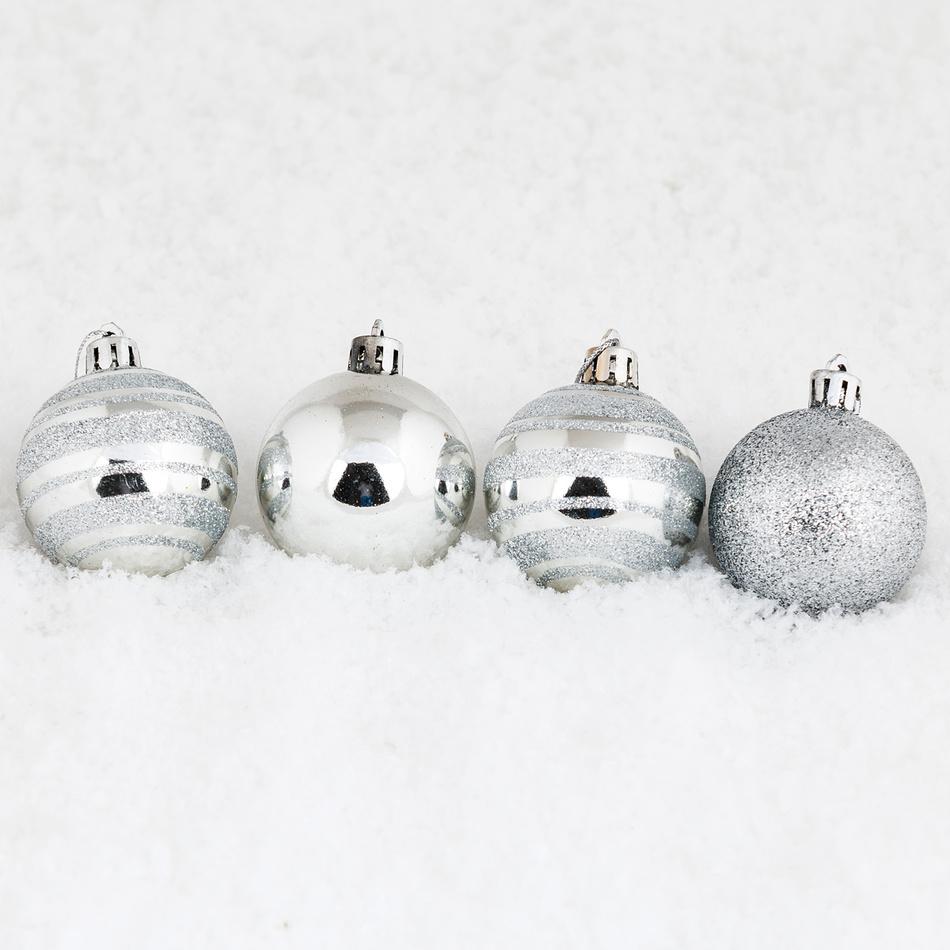 Vianočné gule pr. 8 cm, strieborná, HTH