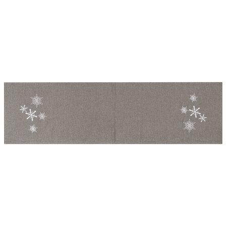 Vánoční běhoun Vločky šedá, 40 x 140 cm