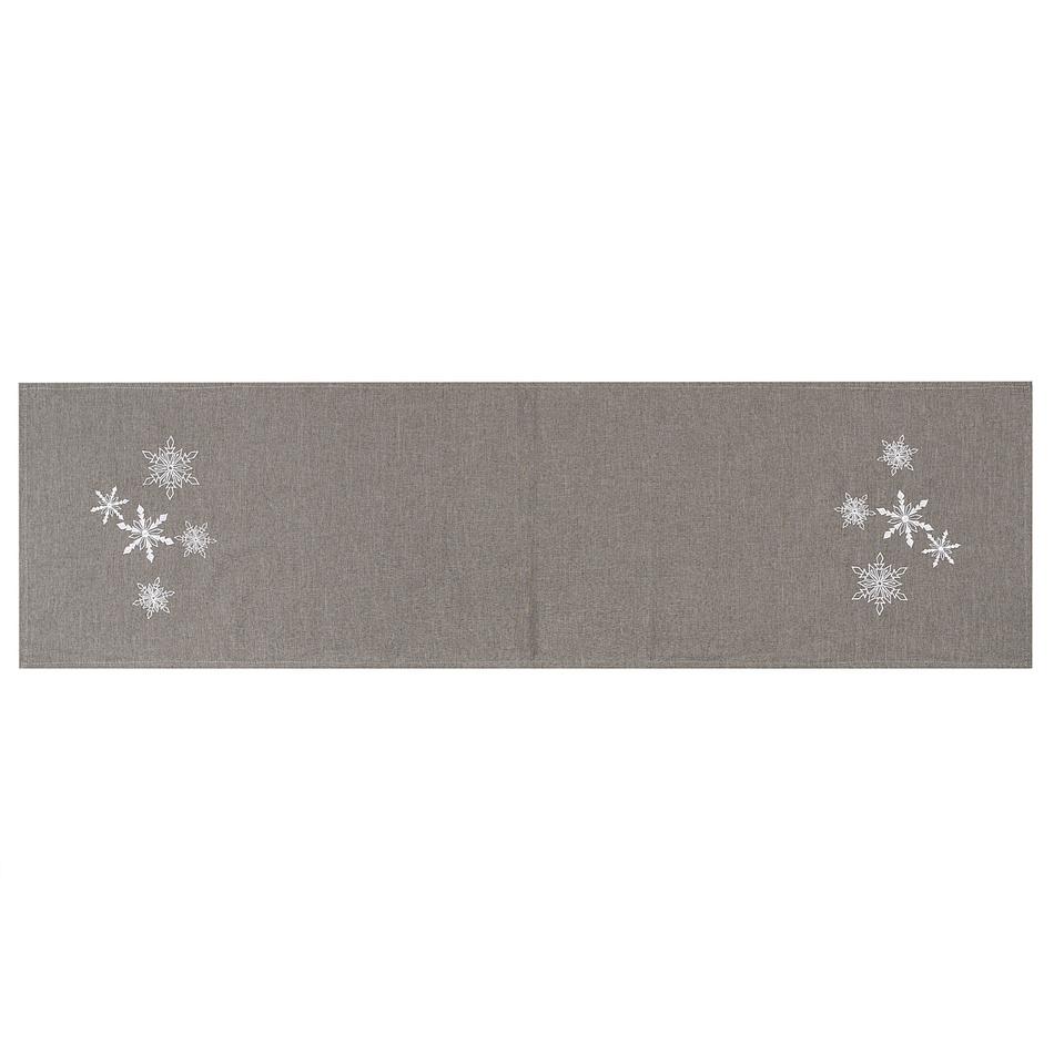 BO-MA Trading Vánoční běhoun Vločky šedá, 40 x 140 cm