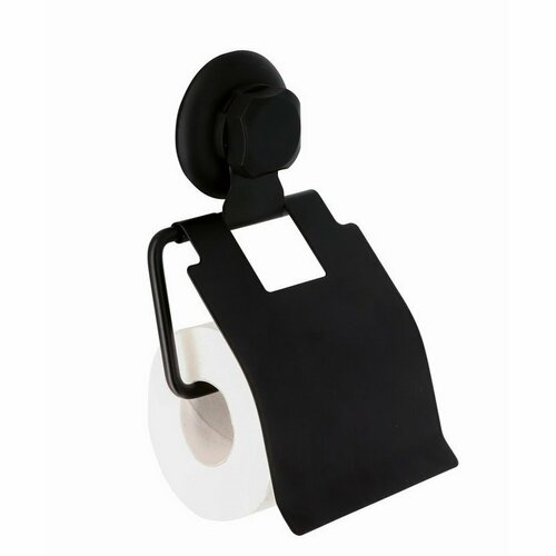Držák na toaletní papír Compactor Bestlock Black, systém s přísavkou - bez vrtání