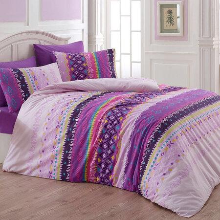 Lenjerie pat1 pers. Melanie, violet, bumbac, 140 x 200 cm, 70 x 90 cm