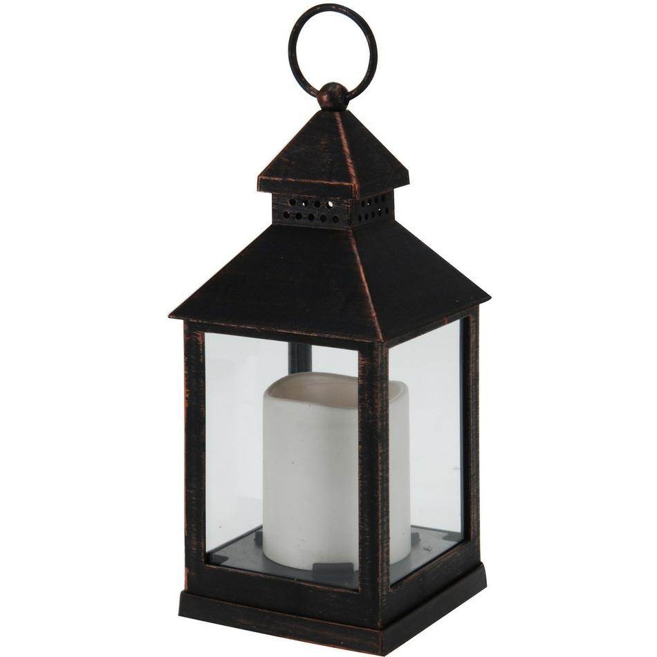 Lámpás LED gyertyával fekete, 23 cm