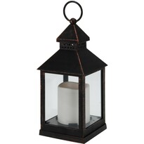 Felinar cu lumânare LED, negru, 23 cm