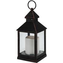Lucerna s LED svíčkou černá, 23 cm
