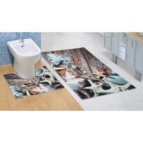 Kúpeľňová predložka Morské lastúry 3D, 60 x 100 + 60 x 50 cm