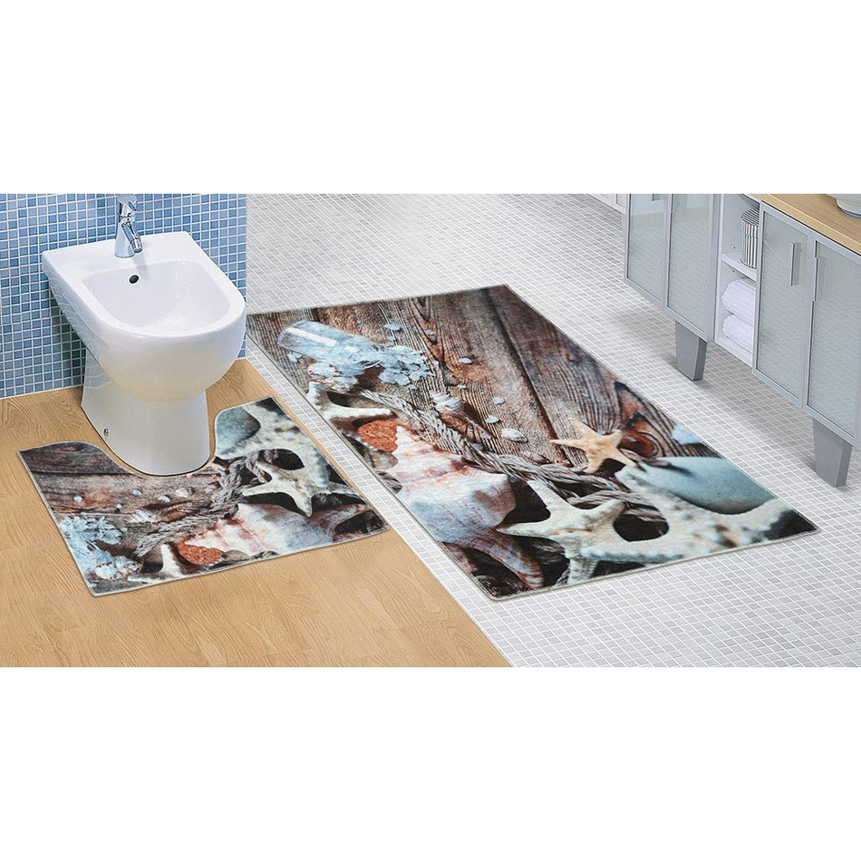 Bellatex Koupelnová předložka Mořské lastury 3D, 60 x 100 + 60 x 50 cm