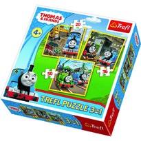 Trefl Puzzle Thomas, a gőzmozdony Akcióra fel!, 3 db