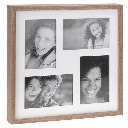 Fotorámček Wood na 4 fotografie, biela + hnedá